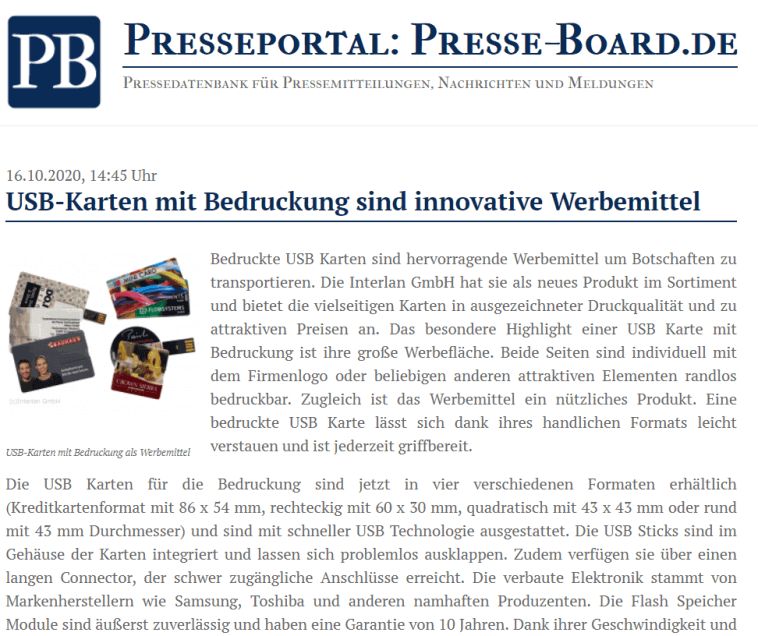 USB Sticks mit Logo in der Presse